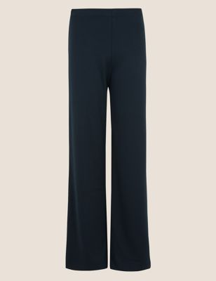 Jersey High Waisted Wide Leg Trousers
