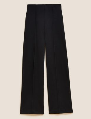 Jersey Textured Wide Leg Trousers