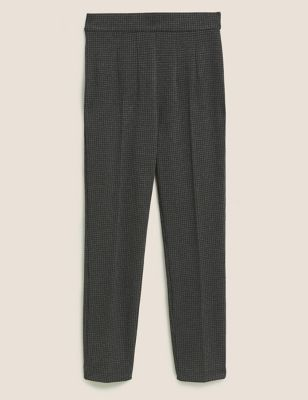 Jersey Houndstooth Slim Fit Trousers