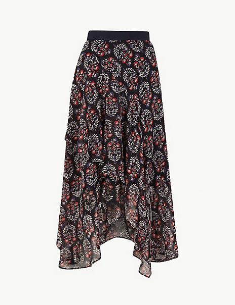 Floral Print Wrap Style Midi Skirt