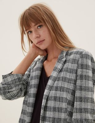 Jersey Checked Ruched Sleeve Blazer