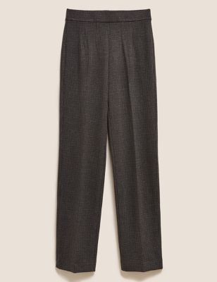 Jersey Houndstooth Straight Leg Trousers