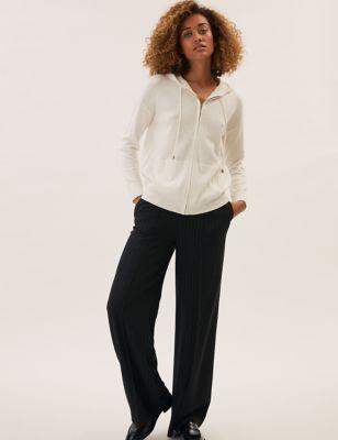Pinstripe Drawstring Wide Leg Trousers