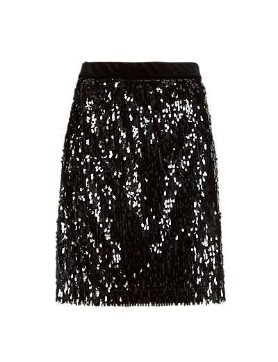 Sequin Embellished A-Line Mini Skirt | M&S