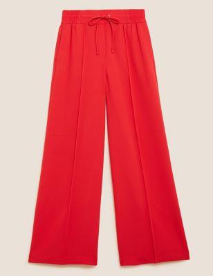 Crepe Drawstring Wide Leg Trousers