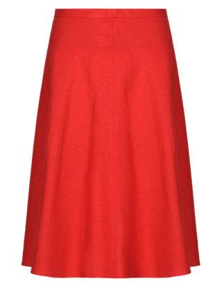 Panelled Knee Length A-Line Skirt   M&S