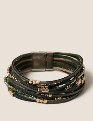 Fabric Wrap Gold Beaded Bracelet