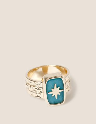 Gold Tone Chunky Stone Star Ring