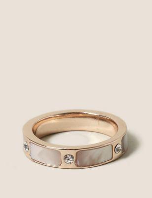 Shell Inlay Rhinestone Ring