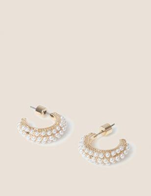 Pearl Effect Hoop Earrings