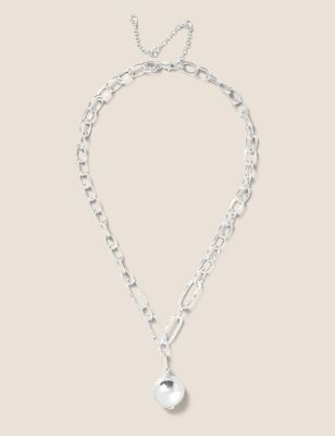 Long Silver Tone Ball Chunky Chain Necklace