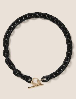 Short Chunky Matte Link T-Bar Necklace