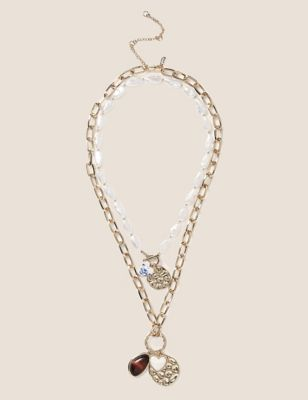 Pearl Gold Tone Layered Charm Necklace