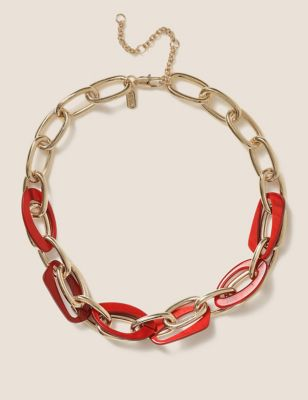 Resin and Gold Tone Link Chain Necklace