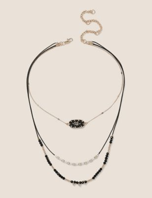 Layered Bead and Chain Choker Necklace