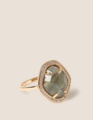 14ct Gold Plated Cubic Zirconia Stone Ring