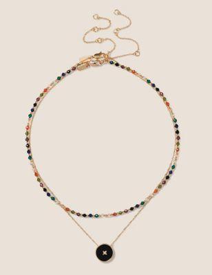 14ct Gold Plated Bead Layered Necklace