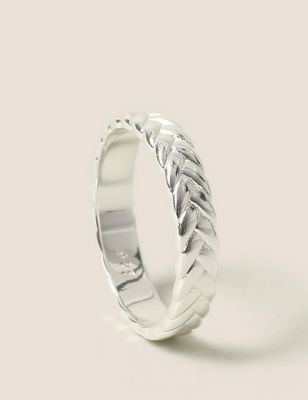 Sterling Silver Woven Plait Ring