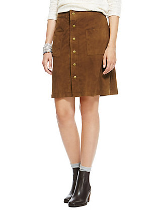 Suede Twin Pocket A-Line Skirt | M&S