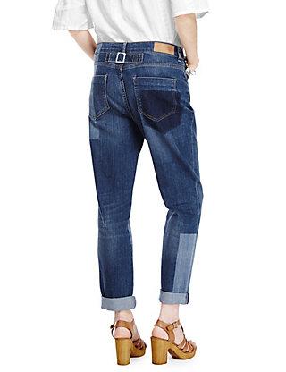 Patch Cinch Back Boyfriend Denim Jeans | M&S