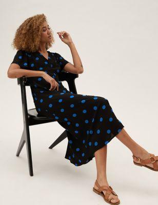 Polka Dot Button Through Midi Tea Dress