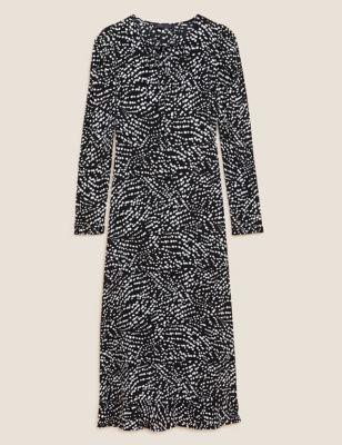 Printed Tie Neck Midi Tea Dress