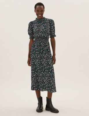 Floral High Neck Shirred Midi Waisted Dress