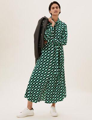 Geometric Tie Front Midaxi Shirt Dress