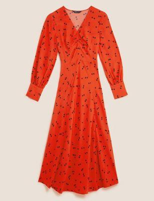Polka Dot Ruched V-neck Midi Dress