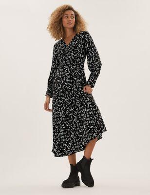 Polka Dot Pleated Knee Length Skirt
