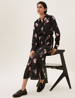 Floral Long Sleeve Midi Shirt Dress