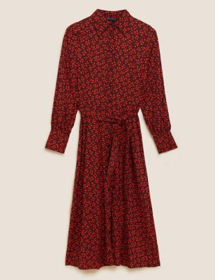 Ditsy Floral Belted Midi Shirt Dress