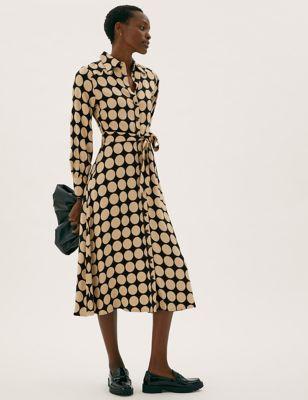 Spot Print Belted Midi Shirt Dress