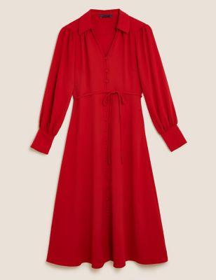 V-Neck Button Through Midi Shirt Dress