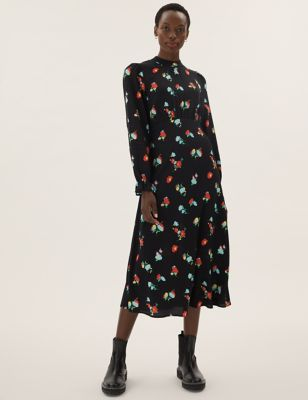 Floral High Neck Midi Tea Dress
