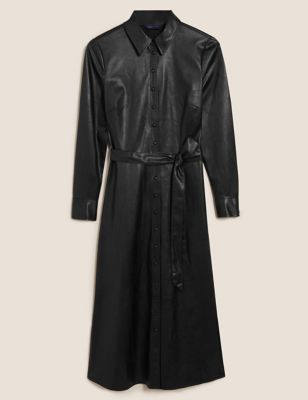 Faux Leather Belted Midi Shirt Dress