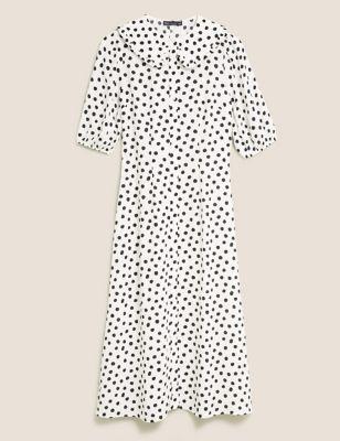 Polka Dot Collared Midi Dress