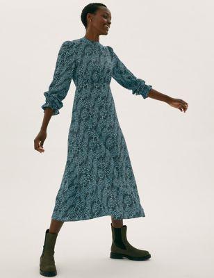 Printed High Neck Midi Tea Dress