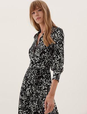Animal Print Belted Midi Shirt Dress