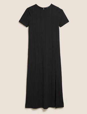 Jersey Ribbed Round Neck Midi Column Dress