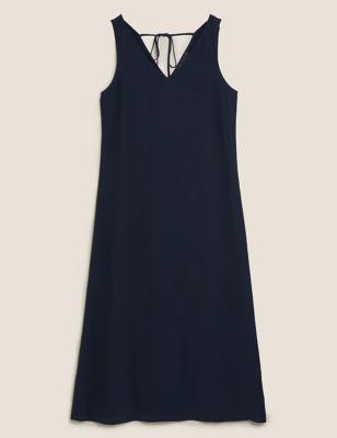 V-Neck Tie Detail Midi Slip Dress