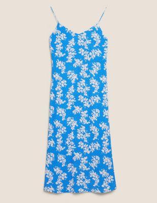 Floral V-Neck Midi Slip Dress