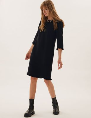 Frill Detail Knee Length Shift Dress