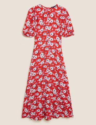 Floral Puff Sleeve Midaxi Tea Dress