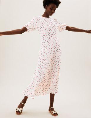 Polka Dot Puff Sleeve Midaxi Tea Dress