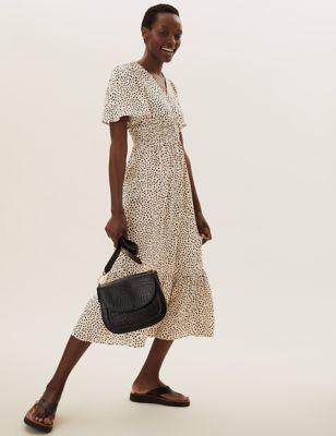 Spot Print V-Neck Midi Waisted Dress