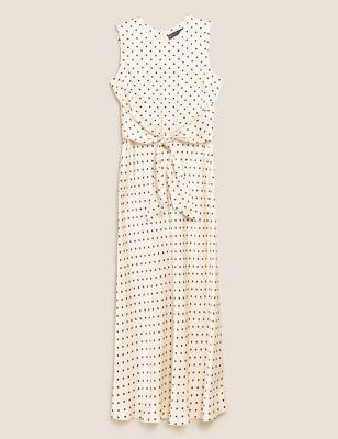 Satin Polka Dot Tie Front Midaxi Dress