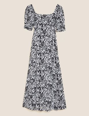 Floral Square Neck Midaxi Tea Dress