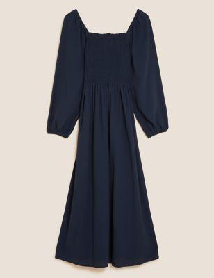 Square Neck Shirred Midaxi Smock Dress