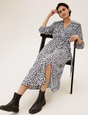 Animal Puff Sleeve Midi Wrap Dress